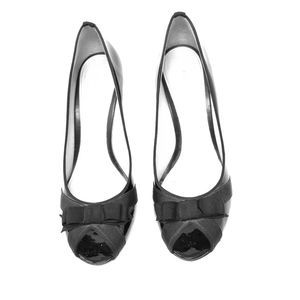 Antonio Melani Shoes Black Patent Leather Peep Toe